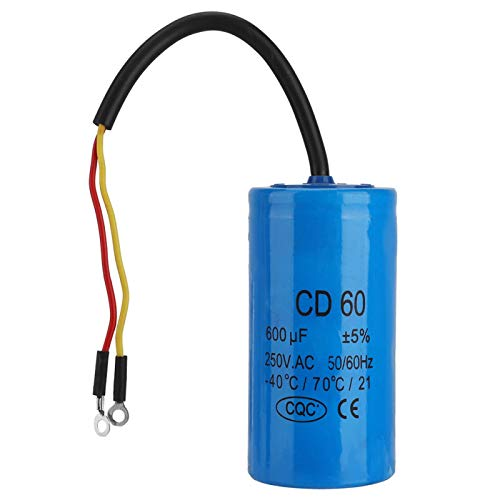 Bruryan Run Capacitor-CD60 Condensador de Funcionamiento con Cable 250V AC 600uF 50 / 60Hz para compresor de Aire de Motor