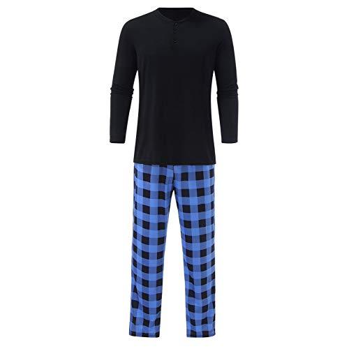 Home+ Pijamas de Hombre Traje de los Hombres O-Cuello de Manga Larga con Manga Larga Pijamas Azules Azules para Hombre. (Color : Negro, Size : XL)