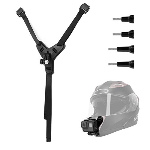 Supporto per cinturino sottogola per fotocamera per casco da moto compatibile con videocamera sportiva GoPro