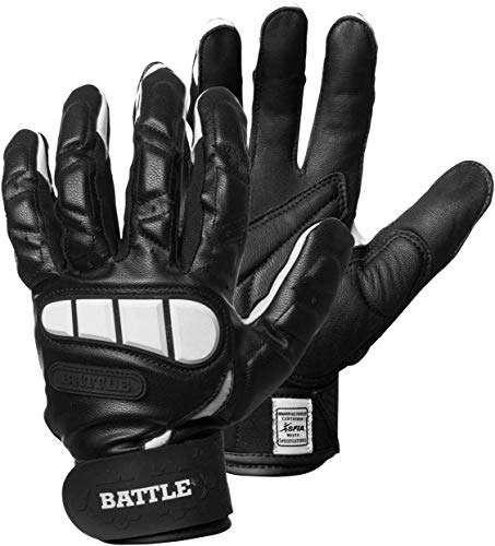 Battle Football Lineman Gloves, Adult, Black, Large