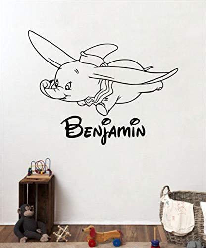 Dumbo Boy benutzerdefinierten Namen Wall Decal Walt Disney personalisierte Aufkleber Kunst Cartoon Elefant Poster drucken Startseite Kinderzimmer Kinderzimmer Dekor