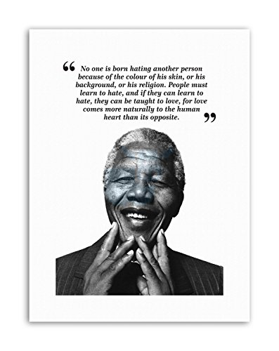 Wee Blue Coo LTD for to BE Free Nelson Mandela BW Motivation Poster Typography Quote