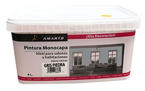 Pintura Monocapa en cubetas, para decoracion de interiores y exteriores de yeso, cemento, escayola, etc. … (4L, GRIS PIEDRA)