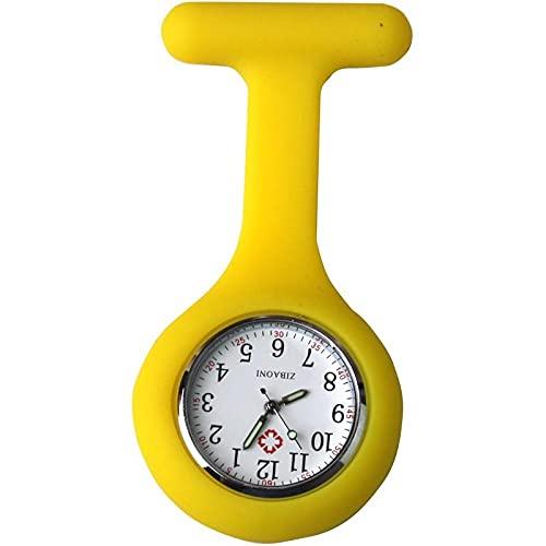 YYMY Enfermera Reloj con Clip,Hangar Impermeable de Silicona para Enfermeras, luz Nocturna, sin Aguja-Amarillo 2