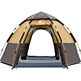 HEWOLF Camping Tent 3 to 4 Person Automatic Pop Up Tent Hexagonal Hydraulic