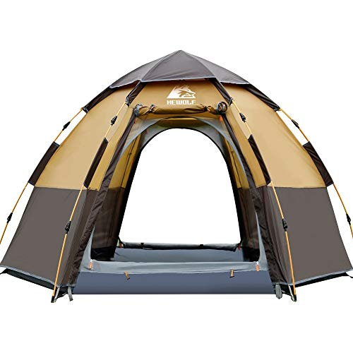 HEWOLF Camping Tent 3 to 4 Person Automatic Pop Up Tent Hexagonal Hydraulic Tents Waterproof UV Protection Dome Tent Double Layer Ultra Large Family Tent for Garden Camping Hiking Tents - Camel