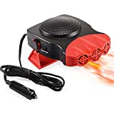 Portable Car Heater, Automobile Windscreen Fan 2 in 1 Fast Heating/Cooling Function for Quickly Defrost Defogger Demister Vehicle Heater, 12V 150W with 3-Outlet Plug in Cigarette Lighter (Red)