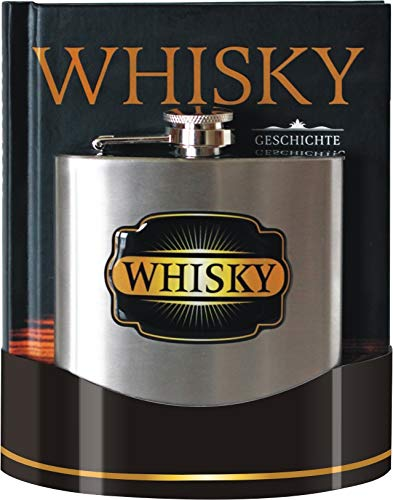 u Whisky Buch Geschichte Herstellung Marken im Set als Geschenk mit Flachmann aus Edelstahl gebürstet rostfrei Geeignet Zum Tragen von Alkohol Mehrweg 7 oz. 200 ml (Whiskybuch + Flachmann 25026)