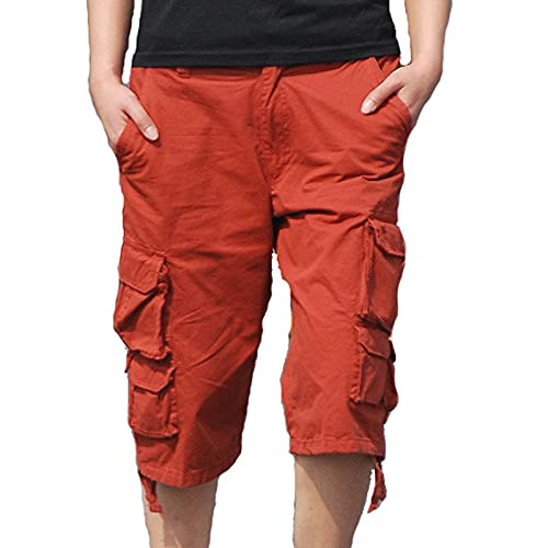 yakalass Pantalones cargo para hombre, color caqui, pantalones prácticos para el exterior, pantalones de verano, pantalones de senderismo, pantalones de trekking, cómodos, talla 30-40, rojo, 32