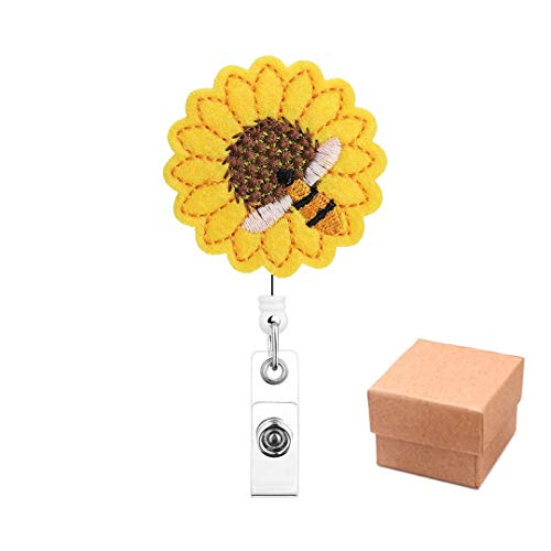 Vetoo Cute Sunflower Badge Reel Holder Retractable, Nurse Badge Reel Clip ID Badge Holder Flower for Women/Female, Nurse, Wife, Volunteer and Teacher Gift(Bee)