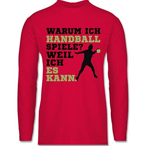 Shirtracer Handball - Warum ich Handball Spiele - Weil ich es kann grün - 3XL - Rot - BCTU005_Herren_Langarm - BCTU005 - Herren Langarmshirt