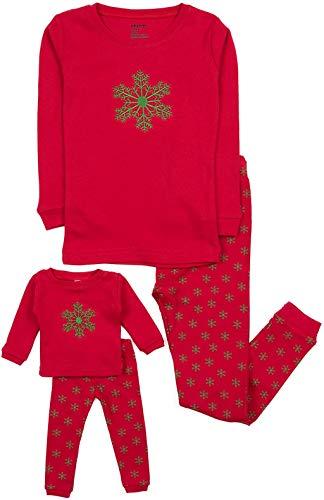 Leveret Kids & Toddler Pajamas Matching Doll & Girls Pajamas 100% Cotton Christmas Pjs Set (2-14 Years)Fits American Girl (8 Years, Snowflake)