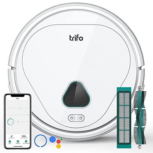 Roboterstaubsauger Max Trifo mit Überwachungskamera, 3000Pa Saugkraft, App/Alexa Steuerung, intelligenter Navigation, WLAN Saugroboter für Haustierbesitzer, gute Reinigung für Böden Teppiche & Haare