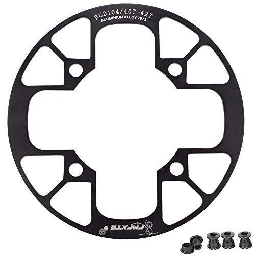 UPANBIKE Montain Bike Chainring Guard 104 BCD Aluminum Alloy Chain Ring Protector Cover for 32~34T 36~38T 40~42T Chainring Sprockets (40T-42T, Black)