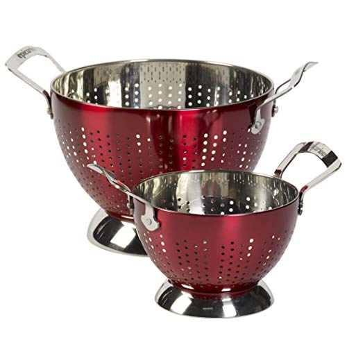 Epicurious 2 Piece Stainless Steel Tall Free Standing Sturdy Colander Strainer Rinsing Bowl Set...