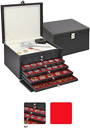 Lindner NERA KABINETT - Sammelkassette mit 6 Schubladen und jeWeiß Einlagen zur Auswahl (Rot, mit quadratischen F ern 30mm, Champagner-Kapseln)
