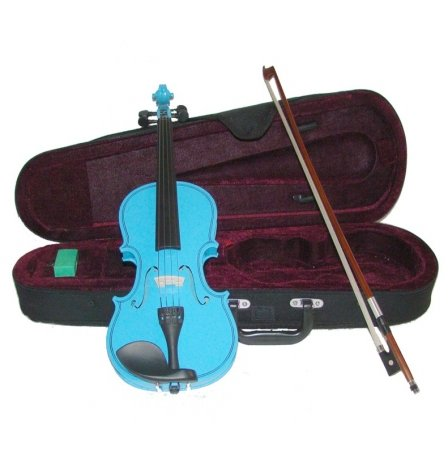 Merano MV300BL 1/4 Size Blue Violin with Case and Bow+Extra Set of Strings, Extra Bridge, Rosin, Pitch Pipe, Shoulder Rest