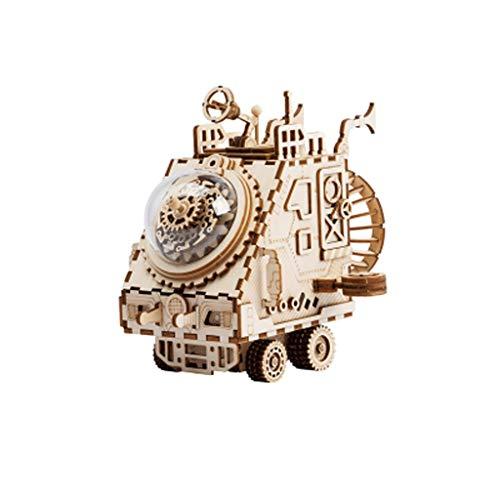 LEGU Cajas Musicales Color de Madera 3D Puzzle de Madera Mecánico Tesoro Modelo DIY Brain Teaser Projects for niños Adultos Edad 14+ Caja de música (Color : Spaceship-Music: Fly ME TO The Moon)