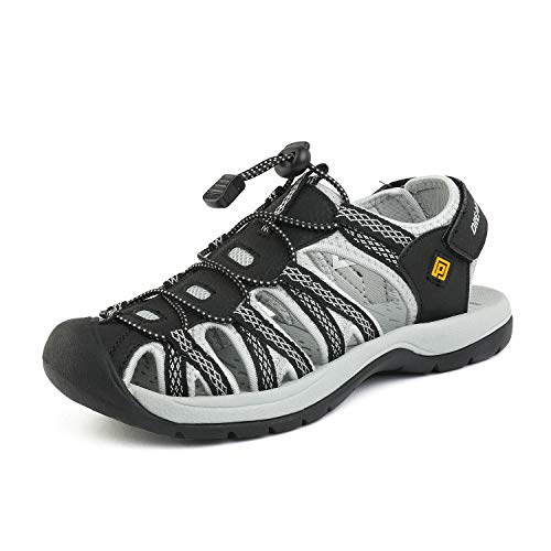 DREAM PAIRS Women's 160912-W-New Black Light Grey Yellow Adventurous Summer Outdoor Sandals Size 8.5 M US