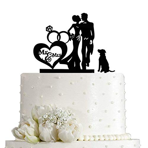 Wedding Couple Kiss Mr&Mrs Heart Diamond Ring Cake Topper, Bride and Groom with Dog Silhouette Cake Topper, Black Acrylic
