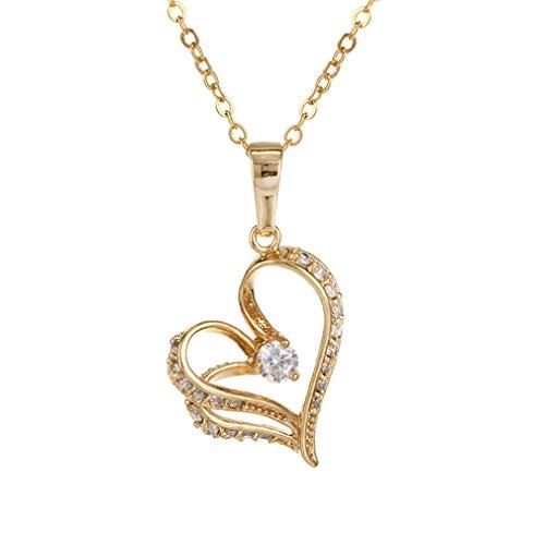 YAZILIND Collar Colgante de Cristal Blanco 18K Plateado del Oro Amarillo de corazón única