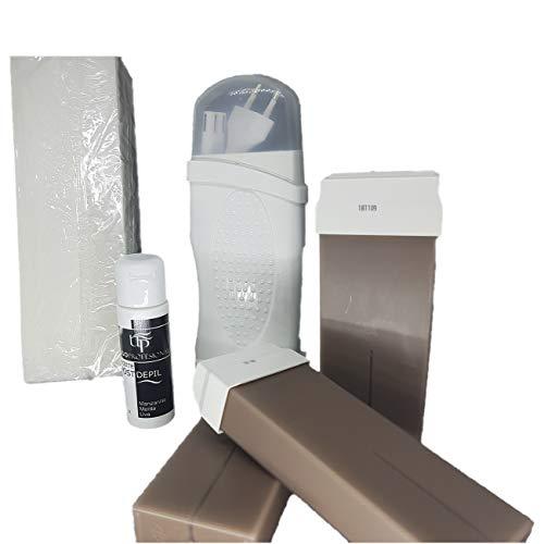 Kit depilación con calentador Roll-on individual, 3 Roll-on Chocolate, 100 bandas depilatorias y 1 aceite post-depilación de 40ml. Oblite