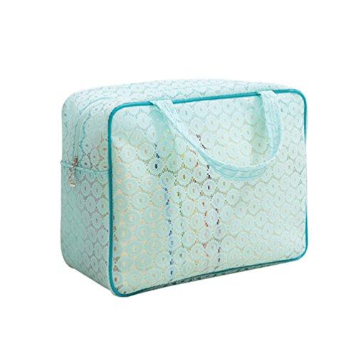 Dexinx Reise Tragbar Kleidertaschen Packing Cubes Organizer für Toilettenartikel Wasserdicht Kosmetik Aufbewahrungstasche Blau1 L