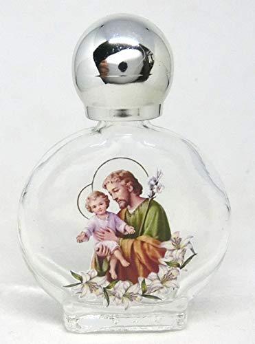 GTBITALY San Giuseppe - Botella de cristal con tapón plateado para agua Santa con impresión UV ultra violeta