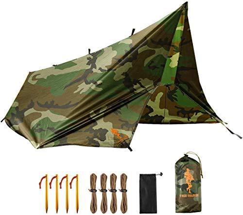FREE SOLDIER Toldo de Acampada y Deportes al Aire Libre Impermeable Portable Multifuncional para Viajar Tienda de campaña Toldo Refugio Parasol Toldo( Camuflaje,con Las uñas)