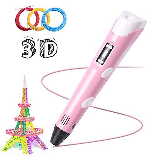 3D Penna per Stampa, Penna Intelligente Bolígrafo LCD Schermo Temperatura Regolabile Compatibile ABS per Bambini Adulti Grande Regalo di Compleanno,Natale,L'Epifana + 3 Filamentos PLA