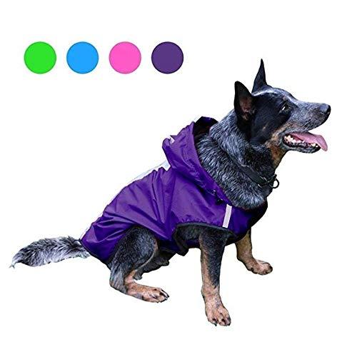Aexit Pet Dog Rain Clothes Chubasquero para Perros Chubasquero para Perros Chaqueta Impermeable con Capucha Tira Reflectante Chubasquero Ropa para Mascotas Purple_3XL