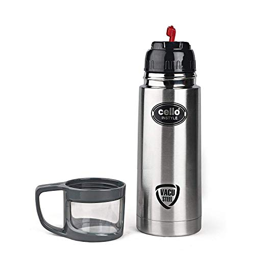 Cello Instyle Stainless Steel Flask with Thermal Jacket, 500ml, Silver