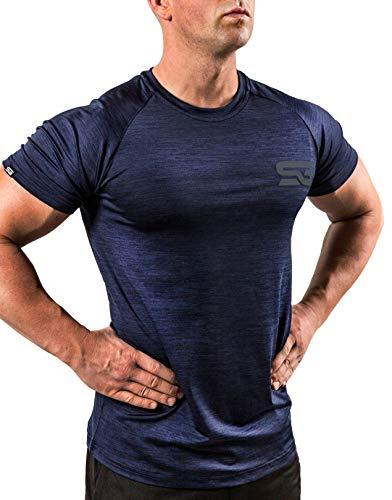 Satire Gym - Camiseta de fitness para hombre - Ropa deportiva funcional - Adecuado para entrenamientos y entrenamiento - Slim Fit, color azul marino, tamaño large