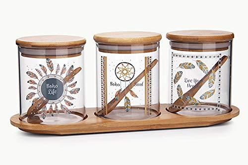 Glass seasoning box salt pot seasoning tank domestic seasoning bottle storage box combination seasoning bottle set