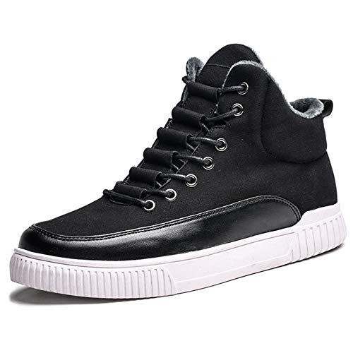 DEARC Zapatillas Altas para Hombre High Top Sneakers Zapatos de Invierno cálido, Negro 39 EU