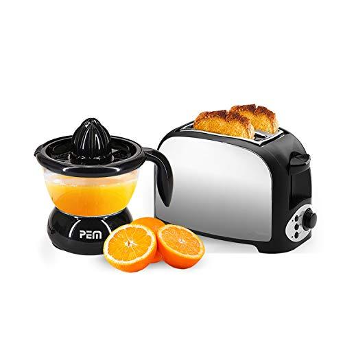 Set petit déjeuner - Grille pain 2 fentes finition inox + Presse agrumes noir 0.7L