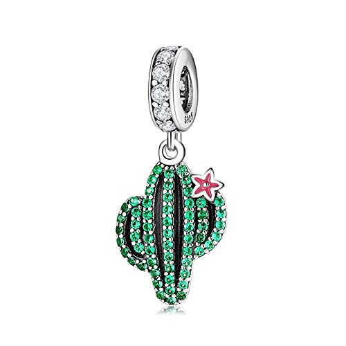Abalorio de cactus, para mujer, diseño de pandora, chapado en plata, cuentas de amor incondicionales, se adapta a todas las pulseras y accesorios, el mejor regalo para mamá amante de las niñas