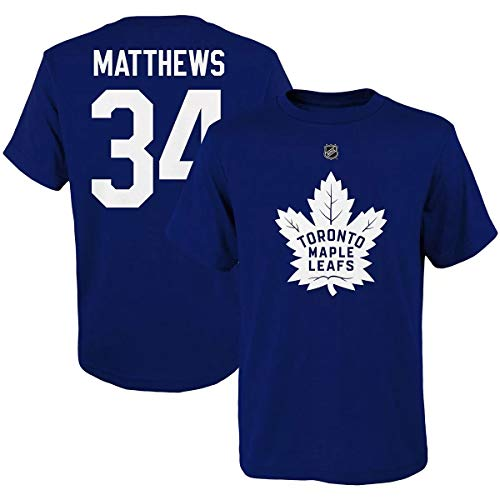 Outerstuff NHL Youth Team Color Player Name and Number Jersey T-Shirt (Auston Matthews Toronto Maple Leafs Blue, Large 14/16)