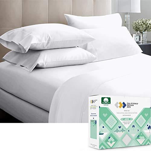 600-Thread-Count 100% Cotton Sheets Pure White King Size, 4-Piece Extra Long-Staple Combed Cotton Best-Bedding Sheet Set for Bed, Breathable, Soft & Silky Sateen Weave Fits Mattress 16'' Deep Pocket