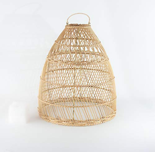 Rococo Pantalla de lámpara de ratán Natural Kurungan parias de 60x45cm