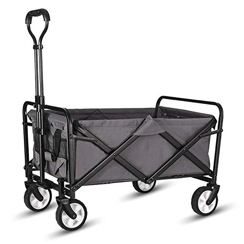"WHITSUNDAY Collapsible Folding Garden Outdoor Park Utility Wagon Picnic Camping Cart 5"" Solid Rubber Wheels (Compact Size, Grey)"