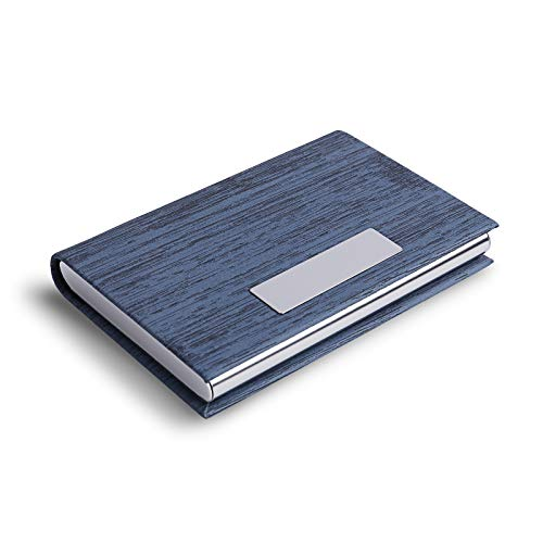 Business Card Holder, Business Card Case, DMFLY Metal Multi Card Case, Luxury PU Leather Card Holder Wallet, Stainless Steel Credit Card ID Case Holder for Women and Men, Blue-mw
