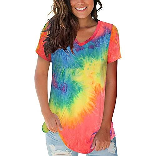 RWXXDSN Camicetta T-Shirt A Maniche Corte con Scollo A V Sciolto Tie-Dye da Donna
