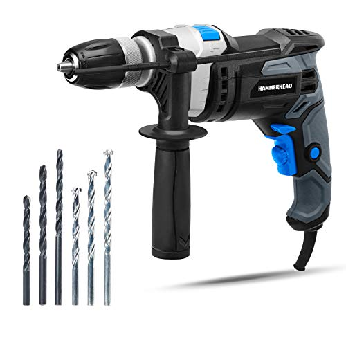 Hammerhead 7.5-Amp 1/2 Inch Variable Speed Hammer Drill with 3pcs Metal Bit and 3pcs Concrete Bit - HAHD075