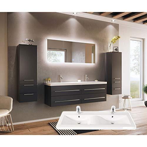 badmöbelset Schönes Doppel-Badezimmer Möbelset mit Waschplatz in Wellenform Anthrazit Seidenglanz