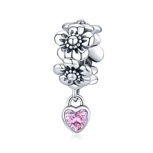 flor Abalorio de Plata de Ley 925 con cristal de corazón, Compatible...
