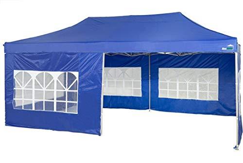 MaxxGarden Pavillon 3x4m - wasserdicht - Pop-Up - inkl. Tasche - UV-Schutz 50+ - Faltpavillon Gartenzelt Partyzelt - Mit Seitenwänden - Blau - Farbauswahl