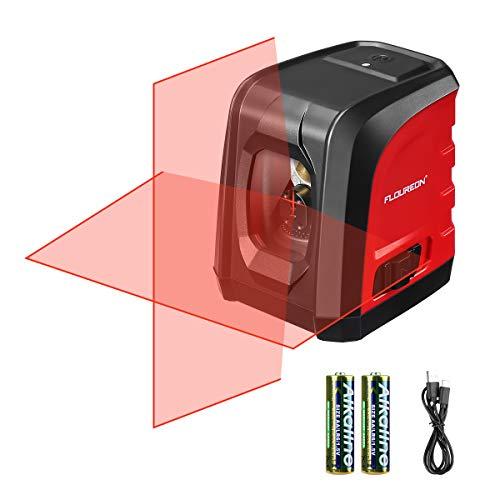 Floureon Kreuzlinienlaser Selbstnivellierend 10M Linienlaser 2 AA Batterien Ladekabel IP54 Staub und Spritzwasserschutz Rot