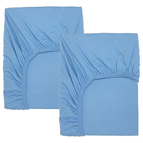 Ikea 804.271.07 LEN Spannbettlaken für Babybett, hellblau, 70x140 cm, 2 Stück, Nicht Angegeben