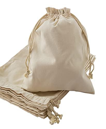 KJK Lot de 6 Grand Sacs en Toile de Jute Pochon Tissu Sac en Coton avec Cordon pour Sachet de Cadeau Maison et Voyage (30X40CM)
